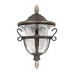Frontgate - Tudor Porch Light - Fashioned with a focus on quality and style. Hand-applied finish deepens over time. Elegant glass beautifully reflects outdoor light. Uses standard bulbs. Our handmade Tudor Outdoor Lighting is the perfect complement to your patio or entryway. Outstanding design and textural hammered glass will illuminate your outdoor setting with elegance.. . . . Available in Walnut finish with Ecru glass and a Royale finish with hammered wave glass. Professional installation recommended for hard-wired lighting.