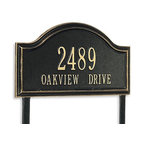 "Frontgate - Oakview Estate Address Plaque - Each arching address plaque features a rustproof aluminum casting with a fused powdercoated finish that performs beautifully. Personalize the standard plaque with up to five 3"" numerals on first line and seventeen capitalized 1-1/4"" letters on second. Personalize the estate plaque with up to five 4"" numerals on first line and seventeen capitalized 1-3/4"" letters on second. Includes stakes for in-ground installation. Please check for accuracy; personalized orders cannot be modified, cancelled, or returned after being placed. Identify your home in distinguished style with our Oakview Address Plaques. These handsome plaques are crafted of sturdy cast-aluminum to resist weather's worst.. . .  . . Made in USA."