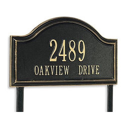 """Frontgate - Oakview Estate Address Plaque - Each arching address plaque features a rustproof aluminum casting with a fused powdercoated finish that performs beautifully. Personalize the standard plaque with up to five 3"""" numerals on first line and seventeen capitalized 1-1/4"""" letters on second. Personalize the estate plaque with up to five 4"""" numerals on first line and seventeen capitalized 1-3/4"""" letters on second. Includes stakes for in-ground installation. Please check for accuracy; personalized orders cannot be modified, cancelled, or returned after being placed. Identify your home in distinguished style with our Oakview Address Plaques. These handsome plaques are crafted of sturdy cast-aluminum to resist weather's worst.. . .  . . Made in USA."""
