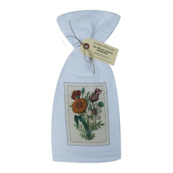 Marigold with Tulip    Flour Sack Towel  Set of 2 - A fabulous set of 3 flour sack towels. This set features a lovely antique botanical print of a Marigold and Tulip.   These towels are printed in the USA by American Workers!