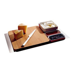 Alessi - Programma 8 Chopping Board & Cheese Set by Alessi - The Programma 8 Chopping Board and Cheese Set by Alessi, a 2005 Sargiani and Helander design, features a set of modular and stackable pieces. Set includes one container in stoneware with lid, one rectangular steel tray, a pair of containers in stoneware, one steel cheese knife, and cheese board in beechwood with feet in non-slip rubber. The Programma 8 Chopping Board & Cheese Set is great for entertaining and would make a great gift.Alessi is an Italian company. Its corporate mission is to bring a utopian priority to affordable, high design for the home and office.Shipping:In Stock items ship within 1 business day. Others usually ship within 2 weeks unless otherwise noted.Dimensions:cheese board: Length 11.8 in., Width 11.8 in., Height 1.8 in.container with lid: Height 2.64 in., Length 6.5 in., Width 6.5 in.knife: Length 11.42 in.pair of containers each: Length 5.91 in., Height 1.38 in., Width 2.95 in.rectangular tray: Length 20.67 in., Width 11.61 in.