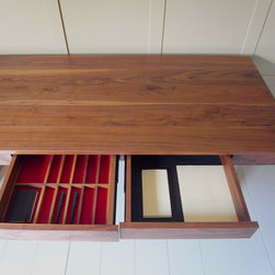 Carpenter & Carpenter Ltd - Bespoke walnut desk, Loughton, Essex - Solid american black walnut desk with three drawers and cable management. Made in the UK by Carpenter & Carpenter Ltd. Design by Andrew Carpenter