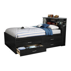South Shore - South Shore Cosmos Contemporary Full Captain's Bed with Bookcase Headboard in Bl - South Shore - Beds - 3127209KIT