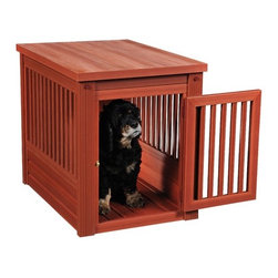 "New Age Pet - Habitat n Home InnPlace Dog Crate - Habitat 'n Home InnPlace is the perfect ""place"" for your pet when they're indoors. Popularly called a crate table, they do double duty in many homes where they serve as an end or lamp table in the family room, bedroom or living room. With its furniture like appearance, the InnPlace and its additional Habitat 'n Home suite of products let's your pet be close to the family without out having to use a wire crate that is better suited for the laundry room or kitchen. Made from ecoFLEX, the InnPlace is also eco-friendly and a great value as it will outlast most other products designed for this use. Front door latches securely and can't be accidentally opened. Easy 10 minute - no tool - assembly. AllProof resisting or barring anything mother nature or your kids can throw at it. Popular chestnut and espresso colors go completely through the material so scratches are less likely to show. Can actually be painted if necessary to co-ordinate with your other furnishings. Co-ordinates in color and style with My Buddy's Bunk and the Raised Double Diner also in the Habitat 'n Home collection. Features: -Dog crate. -Chestnut finish. -Made from eCo-Flex recycled material. -Indoor containment space with closing, latching door. -Built-in floor. -Easy 10-minute, no tool assembly. -Grey option has an espresso looking top. Specifications: -Small (Up to 20 lbs): 22"" H x 18.1"" W x 23.6"" D. -Medium (Up to 50 lbs): 25.2"" H x 21.1"" W x 29.5"" D. -Large (Up to 100 lbs): 28"" H x 24"" W x 35.4"" D. More about EcoFlex: -A blend of recycled polymers and wood byproducts, ecoFLEX exhibits the best characteristics of the polymers and wood that forms the basis for the material. -ecoFLEX is made by reducing clean, recycled polymers and by products from the manufacture of hardwood furniture frames  materials that normally would be burned or dumped into a landfill  into a flour like consistency. The material is mixed with UV inhibitors and color blending compounds and granulated into a form that is used to mold the parts that are used to make an ecoConcepts product. -ecoFLEX based structures will easily outlast 2 wooden structures. In some climates, the ecoFLEX products will outlast 3 or even 4 traditional wooden structures. -ecoFLEX doesn't splinter making it safer for your pet. -ecoFLEX doesn't expand and contract like wood meaning the structure will remain solid for a much longer period of time."