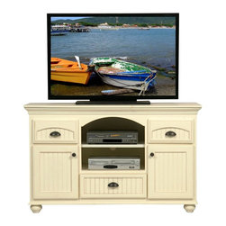 Eagle Furniture Manufacturers - American Premiere Cottage Entertainment Console (Bright White) - Finish: Bright White. One fixed wood shelf. Three felt lined bead board drawers. Two bead board doors. Two fixed wood half shelves. Crown molding. Rope molding. Bead board detailing. Warranty: Eagle's products are guaranteed against material defects for one year from date of delivery to the dealer. Made in USA. No assembly required. 58.75 in. W x 17.75 in. D x 35 in. H (146.33 lbs.)