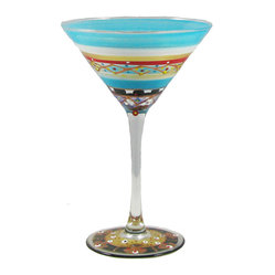 Golden Hill Studio - Mosaic Carnival Martini Glass - You've got the art of mixology down cold. Now all you need are the martini glasses to show off your talents. What better choice than these little gems of hand-painted mastery? They're so cool, you may not need to chill them.