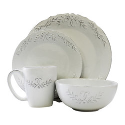 Jay Import Co - Bianca Laurel 16 Piece Dinnerware Set - Traditional dinnerware (full service for four) doesn't get more tasteful than this — the perfect settings for your table. Classic white pieces have a delicate, sliver-tinged foliage motif to make your fine cuisine even more appealing.