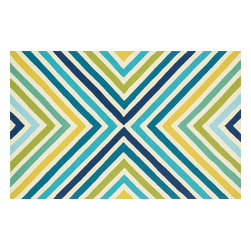 Loloi - Loloi Palm Springs Collection PALMPM-01BBGR2339 Rug - For the first time ever, world renowned designer Dann Foley brings his eye for great design and modern living to outdoor rugs. with patterns and colors as dynamic as Dann's persona, the Palm Springs Collection reflects Dann's passion for fun outdoors.