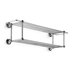 """WS Bath Collections - Venessia 30.0"""" Towel Rack - Venessia by WS Bath Collections Towel Rack 30.0 in Polished Chrome, Two-level Towel Rack, Solid Brass Base, Wall-Mount Installation, Made in Italy"""