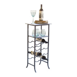 Sylvia Wine Table - Spanning eras with its slim sophistication, this table is a must-have for wine party enthusiasts. Not only does it provide an extra, unobtrusive space to hold your drink, and up to a dozen bottles of wine--the slate top can double as a serving piece in its own right.