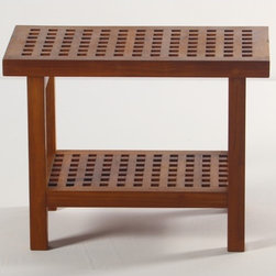 """Aqua Teak - Grate Teak Shower Bench with Shelf - A solid teak stool with an additional shelf. Stool is appropriate for use in the shower, bathroom, deck, or patio. The classic modernistic style fits in both modern, or traditional decors. Provides both functional and esthetic features to your décor. Teakwood has a life expectancy of 75 years if left untreated due to its natural rubber content that naturally resists moisture. This makes teak products ideal for indoor and outdoor use. No other wood compares to Teak when it comes to durability, elegance, stability and low maintenance. We only use wood from government owned plantations that practice sustained harvesting. This means that harvesting is controlled to be no more than the rate of reforestation in any given year. Features: -Shower bench. -Grace Teak collection. -Material: Solid teak. -Modern contemporary design. -Extra shelf for storage. -Classic grate design. -Use indoors or outdoors. -Water and mildew resistant. -Pre-stained with factory teak oil. -5 Years limited warranty. Dimensions: -18"""" H x 24"""" W x 13.75"""" D, 23 lbs."""
