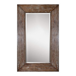 Uttermost - Large Antiqued Hickory-Tone Beveled Wall Mirror Langford - This  large  rustic  mirror  is  ideal  to  make  a  room  seem  larger  and  more  open.   The  solid  wood  frame  is  finished  in  a  burnished  hickory  finish,  with  a  light  gray,  distressed  wood  wash.   Simple  in  its  design  and  stately  in  its  size,  this  rustic  mirror  will  lend  a  strong  natural  wood  tonality  to  any  decor  or  color  scheme.  Comes  with  a  1  1/4  inch  beveled  mirror.