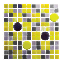 Mosaic Cocktail Tile Yellow & Black - 1 sf Patterned grey and chartreuse hand made circular and square colors are a bold mix of shape and color. Perfect for a A graphic backsplash or accent feature wall.