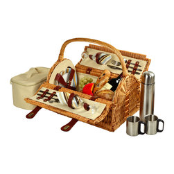 Picnic At Ascot - Sussex Picnic Basket for Two with Coffee, Wicker/Sc Stripe - Unique hand crafted deluxe picnic basket in full reed willow with attractive dome top shape & top carry handle.  Includes a premium picnic set for two with ceramic plates, matching cotton napkins, glass wine glasses, stainless steel flatware, corkscrew, and no spill salt & pepper shakers. Also includes a convenient food cooler and coffee set with stainless steel coffee flask and mugs.