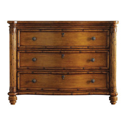 Tommy Bahama Home - Barbados Chest - Three drawers. Serpentine front. Leather wrapped carved wood posts. Warranty: One year limited. Drawer construction: English dovetails, wood runner and guides, drawer stops. Made from maple veneers and select hardwood solids. Lightly distressed warm umber finish. 48 in. W x 23 in. D x 36 in. H (168 lbs.). Special Care Instruction from Lexington FurnitureIsland Estate lends inspiration to tropical design through a rich blending of natural materials, textures and exciting new finish colors. Designs for the whole home encompass an eclectic mix of British Plantation and refined Caribbean styling, with a playful dose of exotic island fun. Wherever the locale, Island Estate embodies a lifestyles that is elegant and refined, yet casual and cool.