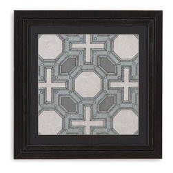 Bassett Mirror - Bassett Mirror Framed Under Glass Art, Caisson I - Part I in the Caisson series, this piece uses symmetrical patterns and geometric shapes to make up an image that resembles what one would see while looking through a kaleidoscope! Surrounded by a black matte and beneath glass in a contemporary dark frame, this piece looks great alone, but even more amazing with its fellow series pieces.