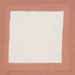 Huddleson Linens - Cinta Border Linen Napkin, Terra-Cotta - Natural linen napkin featuring a hand-painted black border.  Available in eight rich colors – perfect for mixing and matching and making the tablescape your own.