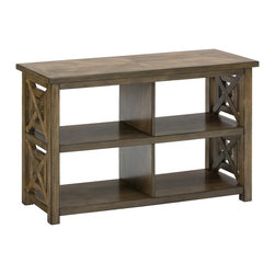 "Jofran - Jofran 582-4 Sofa Table/Media Unit with Square X-Sides - Four Openings - Bring fresh, contemporary style to any area of your home with this decorative hall and sofa table. A piece designed for family friendly function, this item features four open compartments that can be used to store kitchen items or media units or for decorative display. The fresh style comes from the decorative aspects of the piece which includes an open aesthetic with ""X"" styled sides for a casual yet contemporary design. The piece is covered in birch veneers with a medium brown finish tone."