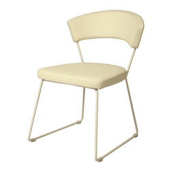 Pastel Furniture - Pastel Furniture Janette Side Chair X-740-GW-011-AJ - The Janette Side Chair exemplifies handsome proportions and bold design. With simple lines mixed with curves for comfort, this beautiful chair adds style and elegance to the dining experience. The chair is upholstered in Pu White with a White Graphite frame.