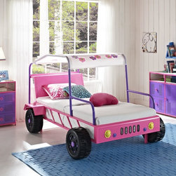 Girls Pink Jeep Buggy Bed - The Girls Buggy Bed is perfect for adding an eyecatching, fun centerpiece to a little girl's bedroom. The bed looks just like a real buggy with four wheels, front headlights and a canopy roof. An open front and sides makes it simple to get in and out of.