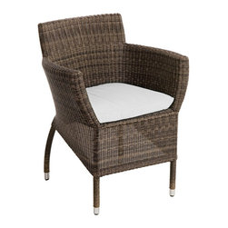 """Lamps Plus - Contemporary Osiris Collection Dining Table White Outdoor Armchair - This outdoor dining chair is a great look for pool areas porches and more. The design is part of the Osiris furniture collection and features a sturdy aluminum frame and all-weather Viro wicker. Includes water-resistant white grace C Sunbrella fabric cushions for added comfort. Osiris Collection dining armchair. Perfect for outdoor use. Aluminum frame. All-weather Viro wicker. Includes water-resistant white grade C Sunbrella fabric cushion. 31"""" high. 25"""" wide. 26"""" deep.  Osiris Collection dining armchair.  Perfect for outdoor use.  Aluminum frame.  All-weather Viro wicker.  Includes water-resistant white grade C Sunbrella fabric cushion.  31"""" high.  25"""" wide.  26"""" deep."""