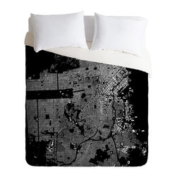 DENY Designs - CityFabric Inc San Francisco Black Duvet Cover - Turn your basic, boring down comforter into the super stylish focal point of your bedroom. Our Luxe Duvet is made from a heavy-weight luxurious woven polyester with a 50% cotton/50% polyester cream bottom. It also includes a hidden zipper with interior corner ties to secure your comforter. it's comfy, fade-resistant, and custom printed for each and every customer.