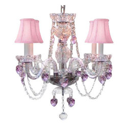 The Gallery - Crystal Chandelier with Pink Shades - To live your fantasy, start at the ceiling. Nothing tops the romance of this crystal chandelier with pink shades and sparkling hearts. It's an absolute masterpiece of illumination for your favorite formal setting.