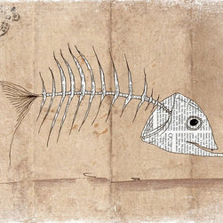 Artollo - Kids Room Wall Art Fishbone A3 - 11.7x16.5 - Gallery quality paper print from hand drawn original, frame not included
