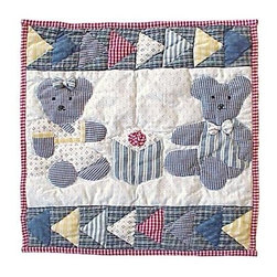 Patch Magic - Blue Teddy Bear Toss Pillow - 16 in. W x 16 in. L. 100% Cotton. Machine washable.. Line or flat dry onlyDecorative applique Quilted Pillow.