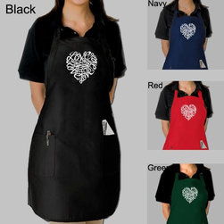 Los Angeles Pop Art - Los Angeles Pop Art Cursive Heart Kitchen Apron - Sweetly unique,this Los Angeles Pop Art Cursive Heart apron brings a little love to the kitchen. Embellished with a heart formed from the word 'Love' written in cursive,this apron comes in several popular colors and features handy pockets.