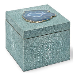Kathy Kuo Home - Destin Coastal Beach Turquoise Shagreen Blue Agate Decorative Box - Petite and posh, this shagreen-covered box adds a Coastal Beach accent to a dresser, table or nightstand. Rich and vibrant, the textured turquoise finish is bejeweled with a teal slice of agate on the top. It is the perfect place for your personal treasures.