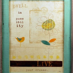 "MyBarnwoodFrames - Dwell in Possibililty, Live your Dreams Framed Quote in Rustic Wood - Framed Quotation - ""Dwell in possibility. Live your dreams."" Designed by Mollie B., this delightful print is the perfect addition to your wall decor. Design fetures a whimsical line drawing of a flower and a bird, with a beige background. Color tones in teal, orange and chocolate brown with an ivory watermark of an envelope postmark as part of the background design. Framed in a rustic reclaimed wod frame with a turquoise blue color wash on the frame face. Outside frame edge is left in the natural barnwood color."