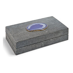 Kathy Kuo Home - Destin Coastal Beach Charcoal Shagreen Purple Agate Rectangle Decorative Box - S - Low and lean, this shagreen-covered box adds a Coastal Beach accent to a dresser, table or nightstand. Rich and vibrant, the textured charcoal grey finish is bejeweled with a slice of purple agate on the top. It is the perfect place for your personal treasures.