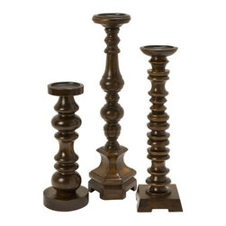"""IMAX - Nilay Wood Candleholders In Old Oak Finish - Set of 3 - A collection of 3 wooden candleholders, finished in an old oak and each complimentary in design. Item Dimensions: (14-18-21.75""""h x 5""""d)"""