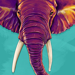 "Maxwell Dickson - Maxwell Dickson ""Elephant in the Room""  Animal Canvas Artwork Wall Art Print - We use museum grade archival canvas and ink that is resistant to fading and scratches. All artwork is designed and manufactured at our studio in Downtown, Los Angeles and comes stretched on 1.5 inch stretcher bars. Archival quality canvas print will last over 150 years without fading. Canvas reproduction comes in different sizes. Gallery-wrapped style: the entire print is wrapped around 1.5 inch thick wooden frame. We use the highest quality pine wood available."