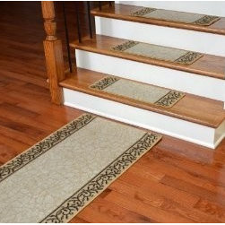 "Dean Flooring Company - Dean Washable Non-Skid Carpet Stair Treads - Garden Path Beige (13) PLUS Runner - Dean Washable Non-Skid Carpet Stair Treads - Garden Path Beige (13) PLUS a Matching 5' Runner : Washable non-skid carpet stair treads by Dean Flooring Company. Helps reduce slips on your hardwood stairs. Great for helping your dog easily navigate your slippery staircase. Nylon pile with a machine washable non-skid latex backing (wash on delicate in cold water, line dry). Also easy to spot clean or vacuum. Reduces noise. Reduces wear and tear on your hardwood stairs. Each set contains 13 pieces PLUS a matching 5' runner. Each tread is approximately 25"" x 9"". Easy DIY installation with double-sided carpet tape (not included). Adds an attractive fresh new look to your staircase."