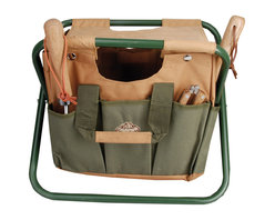 Esschert Design - Garden Tool Stool - If your green thumb is making you black and blue, you may need a garden tool stool to support your rump and carry your equipment. The affordable, camp-like canvas folding tool stool let's you sit and putter with your plants with easy tool access.