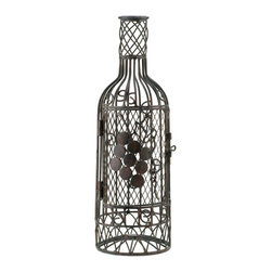 KOOLEKOO - Cork Saver Wine Decor - Show off your savvy taste in wine and decorating with this wire frame wine bottle. Open the hinged door and youll find the perfect spot to store your collection of wine corks from bottles past! The metal frame features spiraling wires that form a fascinating design, and the door is decorated with metal grapes.