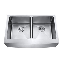"""Ariel - 33 Inch Stainless Steel Curved Front Farm Apron 50/50 Double Bowl Kitchen Sink - Ariel farmhouse apron double bowl kitchen sink features 15mm radius interior corners design with a curved front apron. Made of premium 16 gauge stainless steel. Overall Dimensions 33"""" x 20-3/4"""" x 10"""". Apron Depth 9""""."""