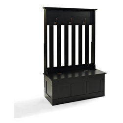 Crosley Furniture - Crosley Furniture Ogden Entryway Hall Tree in Black - Clean up your busy entryway with the Ogden entryway storage bench.  This bench features hooks for hanging jackets and backpacks along with storage for shoes, scarves, mittens and hats.