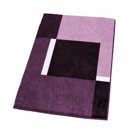 Modern Non-Slip Washable Purple Bath Rugs, Extra Large - Modern extra large non-slip bathroom rug with a thick and densely woven .79in high pile.  Our purple bathroom rug is machine washable and offers a bold, beautiful range of colors including dark purple, medium tone purple and light purple.  Designed and produced in Germany