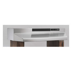 "Broan - 30"" Range Hood with 2 speeds and 190 CFM - Stainless steel 30 in. 4-way convertible hood for round and rectangular ducted, as well as non-ducted configuratiions