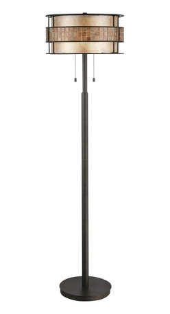 Quoizel - Quoizel MC842FRC Laguna Transitional Floor Lamp - This mica piece is an addition to the Quoizel Naturals collection and features a mosaic tile stripe, which appears to be floating around a taupe mica shade. The tiles have a coppery shimmer for an added touch of elegance.    It provides a warm and inviting accent for most any home.