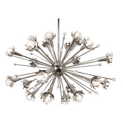 Robert Abbey - Jonathan Adler Sputnik Chandelier,Polished Nickel - Looking for a wild chandelier to pump up a boring room? Here you go. This one has an antique brass finish and sparkly crystal accents.