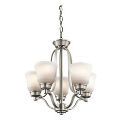 Kichler Lighting - Kichler Lighting Langford Transitional Mini Chandelier X-IN8871 - This classic 5 light chandelier from the Langford&trade: collection is a timeless accent fitting for any space. The Brushed Nickel&trade: finish and Etched White Glass combine to create a refined statement.