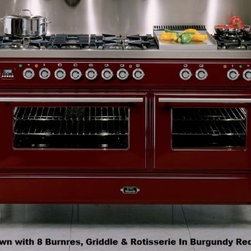 """Ilve - UMT150FMPI Majestic Techno 60"""" Freestanding Dual Fuel Range with 8 Burner  Rotis - Majestic Techno 60 Freestanding Dual Fuel Range with 8 Burner Rotisserie Griddle European Convection 4 Heavy Duty Racks Removable Oven Door Primary Oven Capacity 355 cu ft and Secondary Oven Capacity 244 cu ft"""