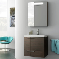 ACF - 23 Inch Bathroom Vanity Set - Set Includes: . Vanity Cabinet (2 doors, 1 drawer). Fitted ceramic sink (23.6 inch x 18 inch ). Lighted Medicine Cabinet (W 23.6 inch x H 29.1 inch x D 6.3 inch ). Vanity Set Features:. Vanity cabinet made of engineered wood. Cabinet features waterproof panels. Available in Wenge, Grey Oak Senlis, Larch Canapa, Glossy White. Cabinet features 2 doors and 1 soft-closing drawer. Faucet not included. Perfect for modern bathrooms. Made and designed in Italy. Includes manufacturer 5 year warranty.