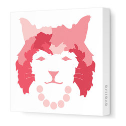 "Avalisa - Animal Face - Queen Cat Stretched Wall Art, 28"" x 28"", Coral -"