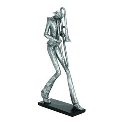 "Benzara - Polystone Trombone Musician Decor with Fine Attention to Details - Polystone Trombone Musician Decor with Fine Attention to Details. Add a touch of music and art in your living room or drawing room with the exquisite Polystone trombone musician who stands tall with pride enjoying the attention of its viewers. It comes with a dimension of 20""H x 9""W x 4""D."