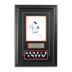 """Heritage Sports Art - Original art of the MLB 1940 Cincinnati Reds uniform - This beautifully framed piece features an original piece of watercolor artwork glass-framed in an attractive two inch wide black resin frame with a double mat. The outer dimensions of the framed piece are approximately 17"""" wide x 24.5"""" high, although the exact size will vary according to the size of the original piece of art. At the core of the framed piece is the actual piece of original artwork as painted by the artist on textured 100% rag, water-marked watercolor paper. In many cases the original artwork has handwritten notes in pencil from the artist. Simply put, this is beautiful, one-of-a-kind artwork. The outer mat is a rich textured black acid-free mat with a decorative inset white v-groove, while the inner mat is a complimentary colored acid-free mat reflecting one of the team's primary colors. The image of this framed piece shows the mat color that we use (Red). Beneath the artwork is a silver plate with black text describing the original artwork. The text for this piece will read: This original, one-of-a-kind watercolor painting of the 1940 Cincinnati Reds uniform is the original artwork that was used in the creation of this Cincinnati Reds uniform evolution print and tens of thousands of other Cincinnati Reds products that have been sold across North America. This original piece of art was painted by artist Nola McConnan for Maple Leaf Productions Ltd.  1940 was a World Series winning season for the Cincinnati Reds. Beneath the silver plate is a 3"""" x 9"""" reproduction of a well known, best-selling print that celebrates the history of the team. The print beautifully illustrates the chronological evolution of the team's uniform and shows you how the original art was used in the creation of this print. If you look closely, you will see that the print features the actual artwork being offered for sale. The piece is framed with an extremely high quality framing glass. We have used this"""